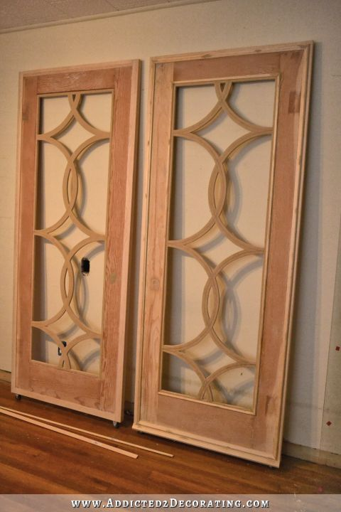 sliding barn door style french doors - adding trim to the door 3