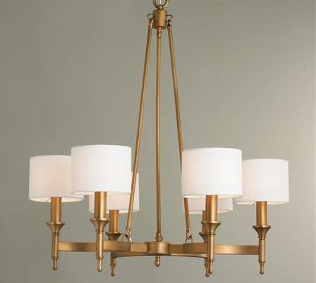 Metrolume Chandelier in natural brass from Shades of Light