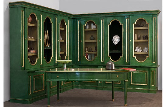 green and gold desk and bookcase desgined by Maison Jansen circa 1960, via Architectural Digest