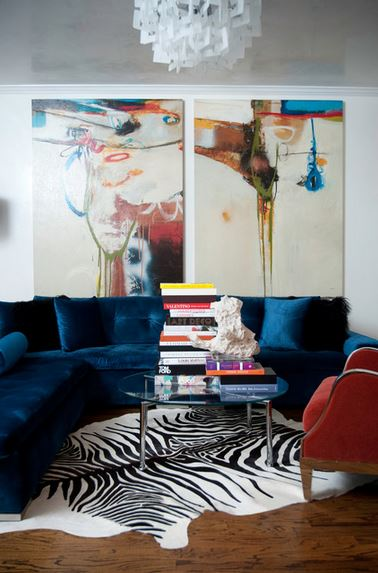 Velvet Sofa In Dark Blue   Smith Boyd Interiors, Via Houzz