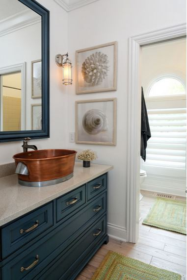 Be Inspired To Paint Your Bathroom Vanity A Nonneutral Color - Blue bathroom vanity cabinet for bathroom decor ideas