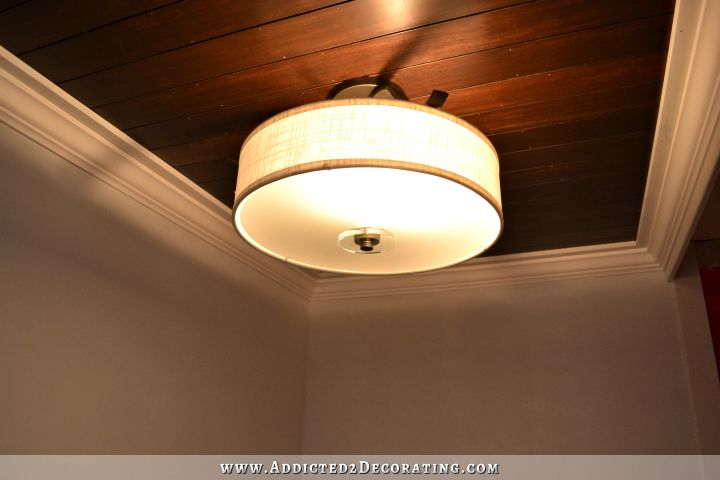 stained wood slat ceiling in hallway bathroom - 9