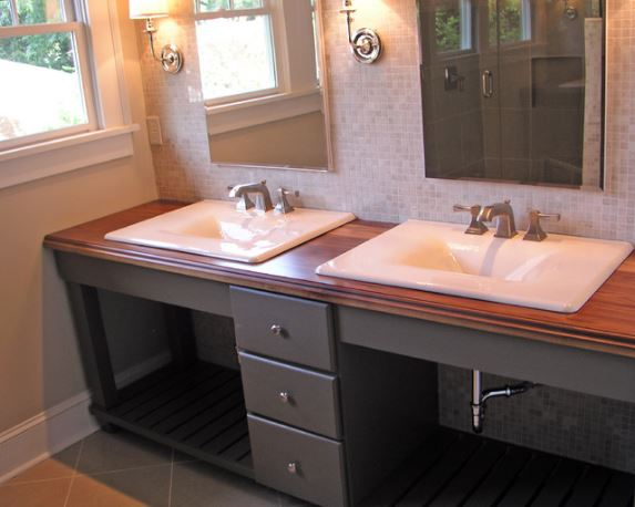 Etonnant Wood Countertop On Bathroom Vanity   By Craft Art Elegant Surfaces, Via  Houzz