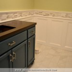 Finished Recessed Panel Wainscoting (Judges Paneling) With Mosaic Tile Accent