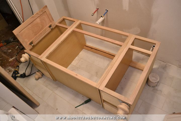Bathroom Vanities Made From Furniture furniture-style bathroom vanity made from stock cabinets – part 1