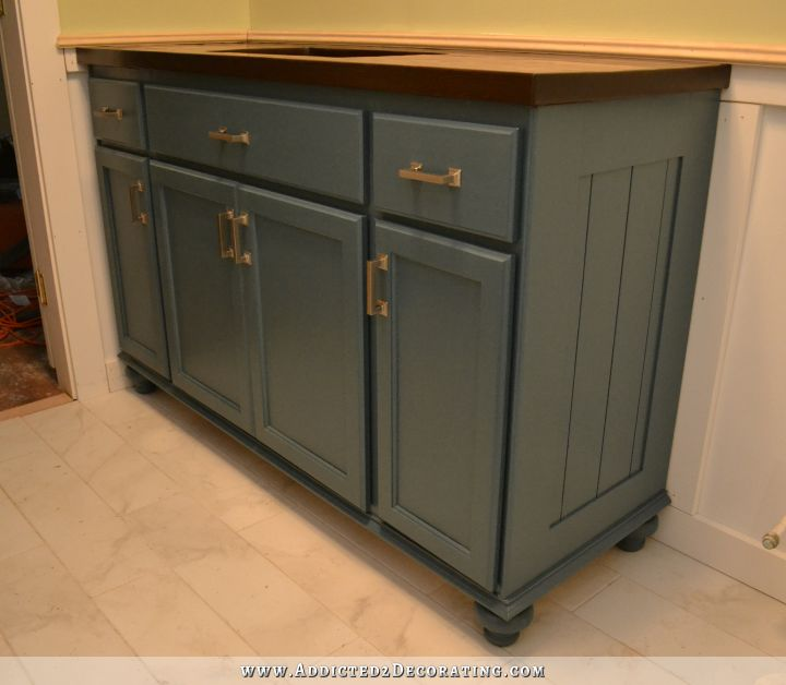 Bathroom Vanities Made From Furniture teal furniture-style vanity made from stock cabinets – finished!