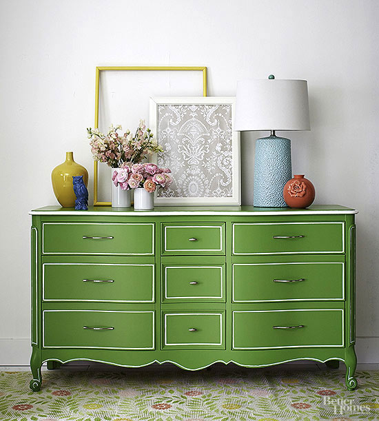 buffet makeover - green and white painted buffet via BHG