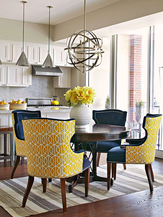 chairs covered in two coordinating fabrics - via BHG