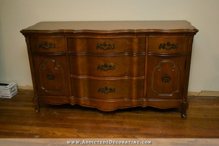 Buffet Makeover With Coral Paint And Dark Walnut Wood Stain