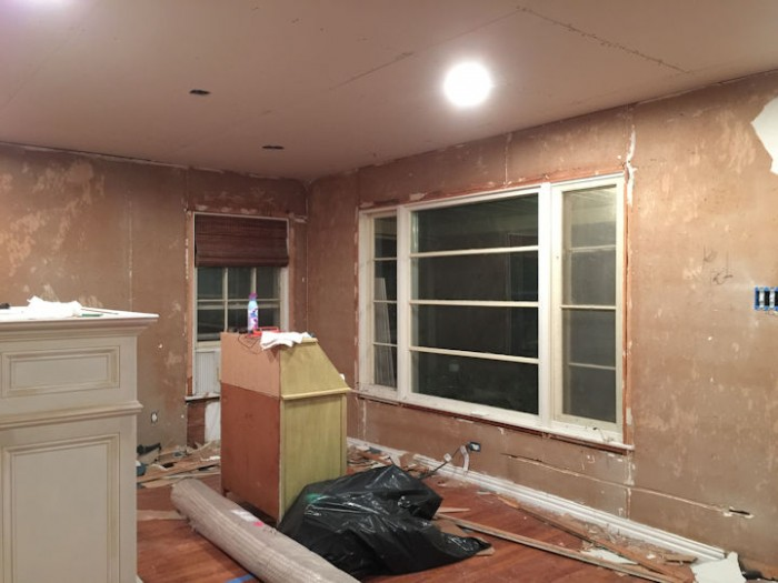 dining room with old drywall scraped and ready to be skim coated - 2