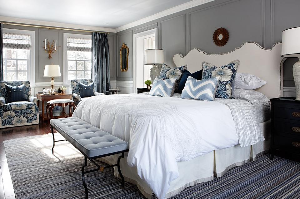 Traditional bedroom with picture frame moulding walls painted white and gray   by Sarah Richardson. Conclusion  I Just Don t Like Light Neutral Paint Colors  Except