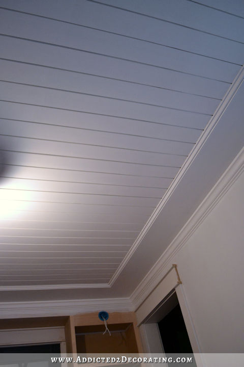My finished music room ceiling painted wood plank ceiling Shiplap tray ceiling