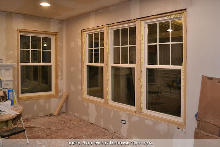 dining room - how to install trim and casing in new windows - before