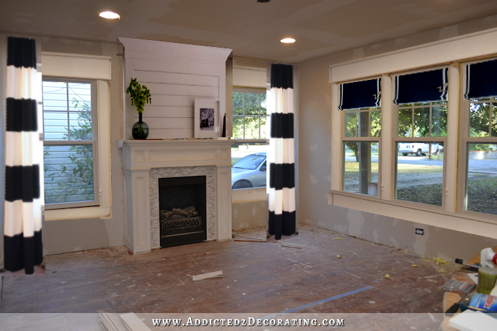 dining room - mock up of window treatments - draperies and roman shades