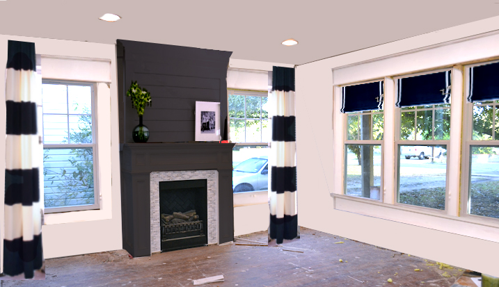 dining room with black fireplace and black and white striped draperies
