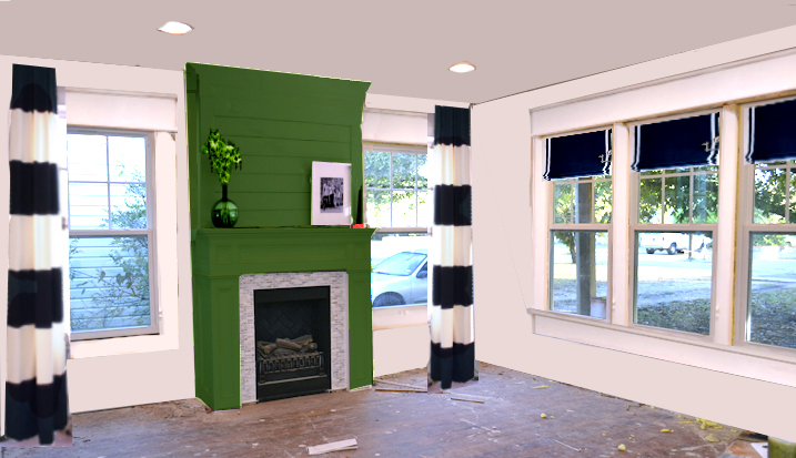 dining room with green fireplace and black and white curtains