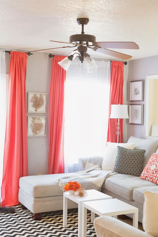 coral draperies, via Darling Daly Design