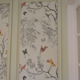 Hand Drawn Birds & Butterflies Entryway Wall Mural – Finished!