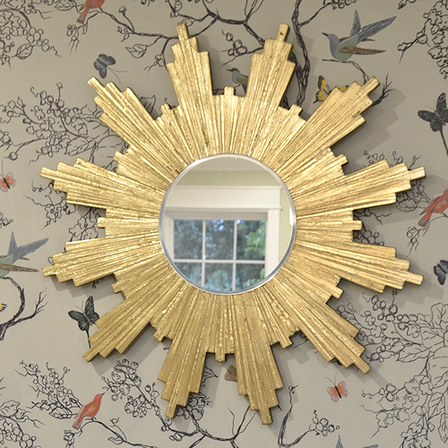 gold leaf wood shim sunburst mirror - 24