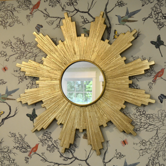 DIY Antiqued Gold Leaf Sunburst Mirror