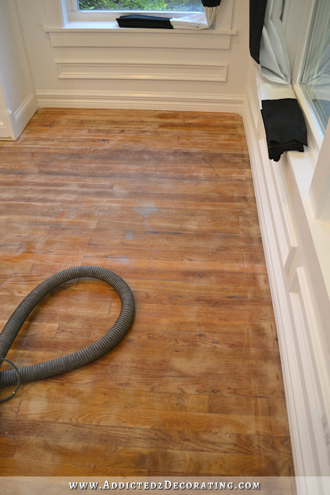hardwood flooring with paint overspray and spills - sanding with 80-grit sandpaper - 3
