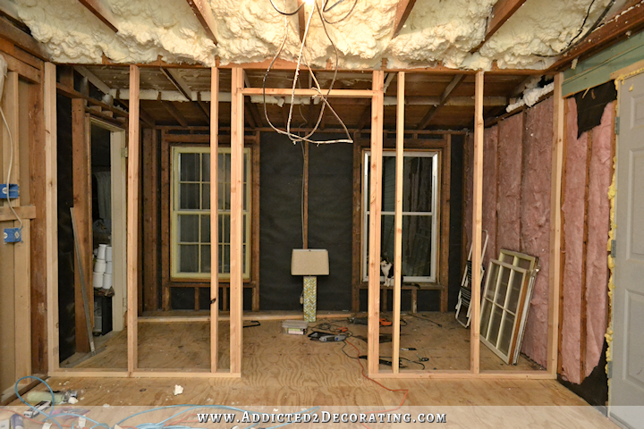 Walk in pantry progress the wall is framed for Framing interior basement walls