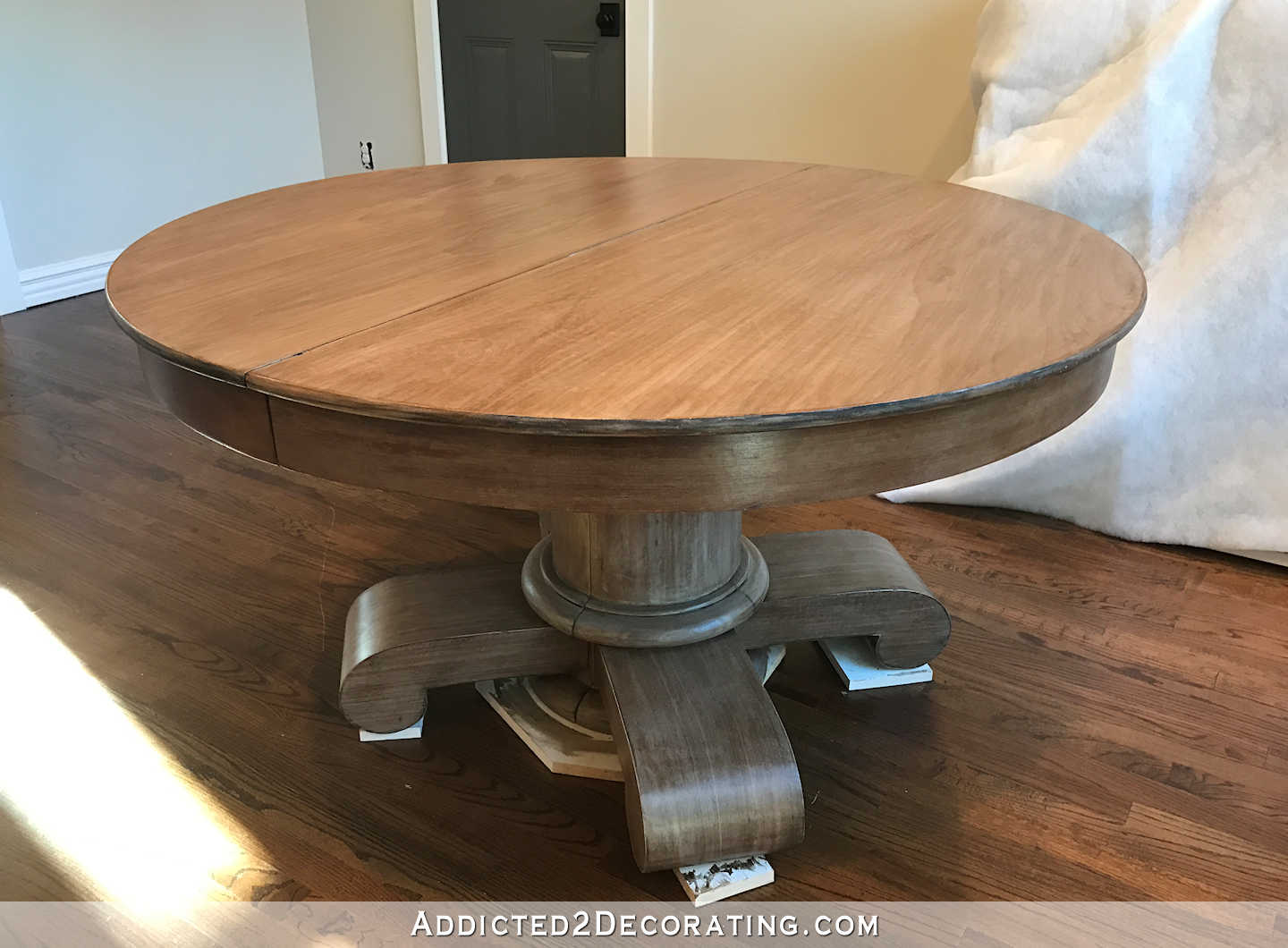 breakfast room dining table makeover - finish toned down with stain