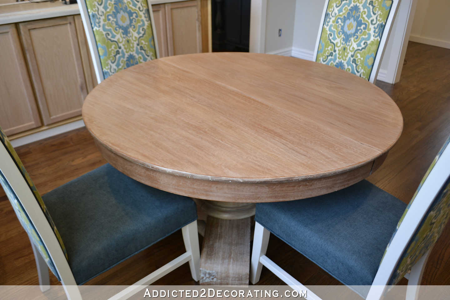 breakfast room dining table makeover - refinished table with new dining chairs - 2
