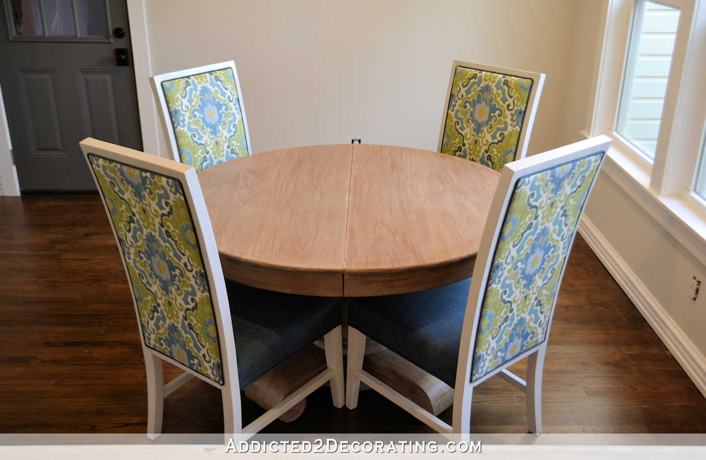 breakfast room dining table makeover - refinished table with new dining chairs