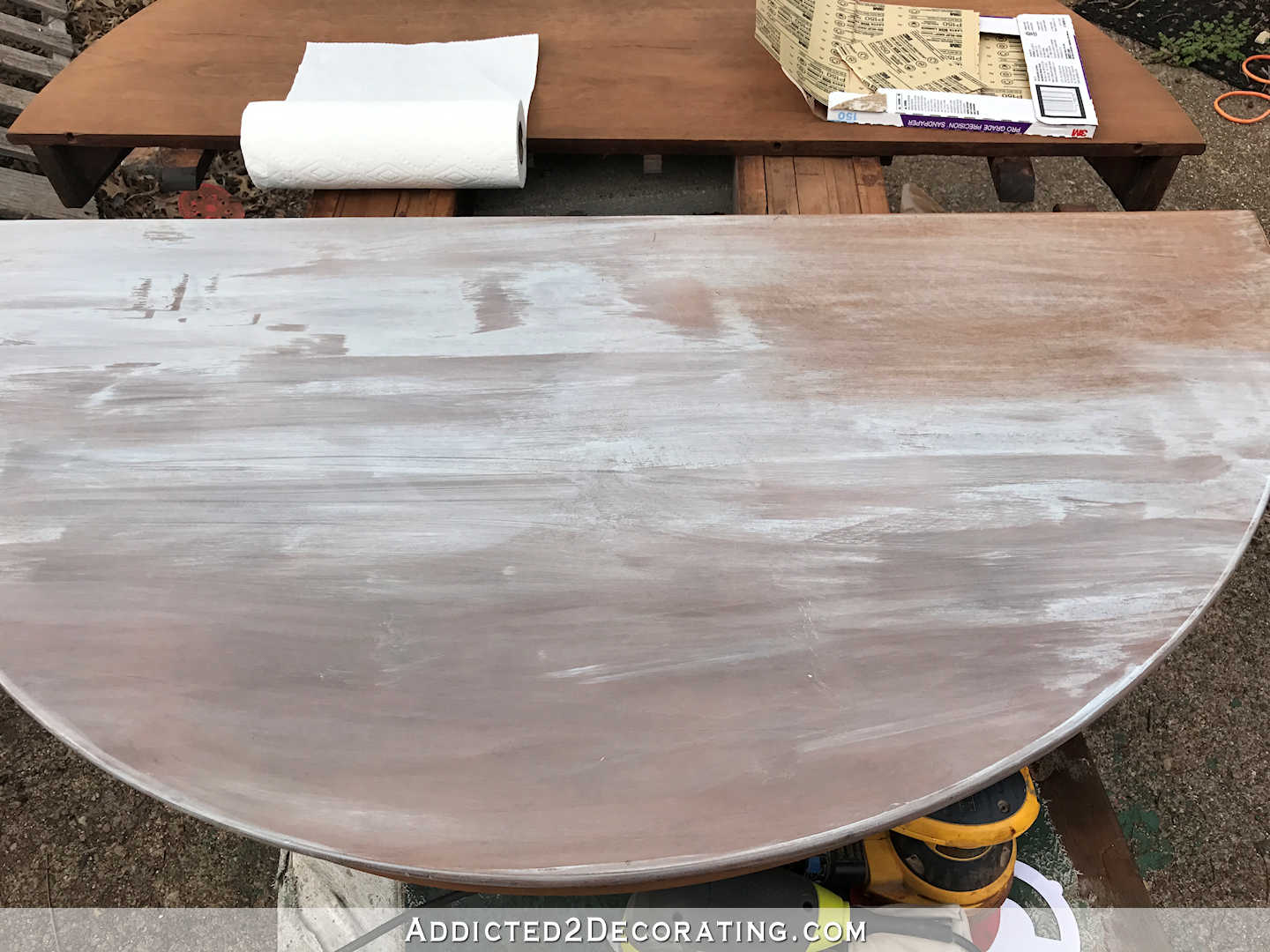 breakfast room dining table makeover - stain fail on the first attempt