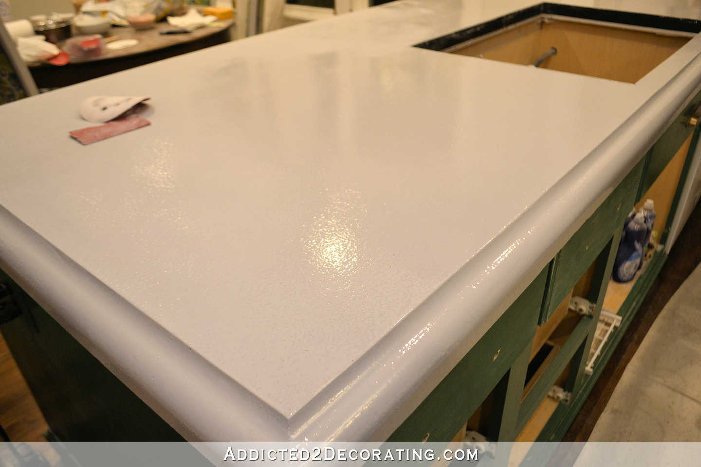 refinishing concrete countertops - 18 - concrete countertops with primer - peninsula