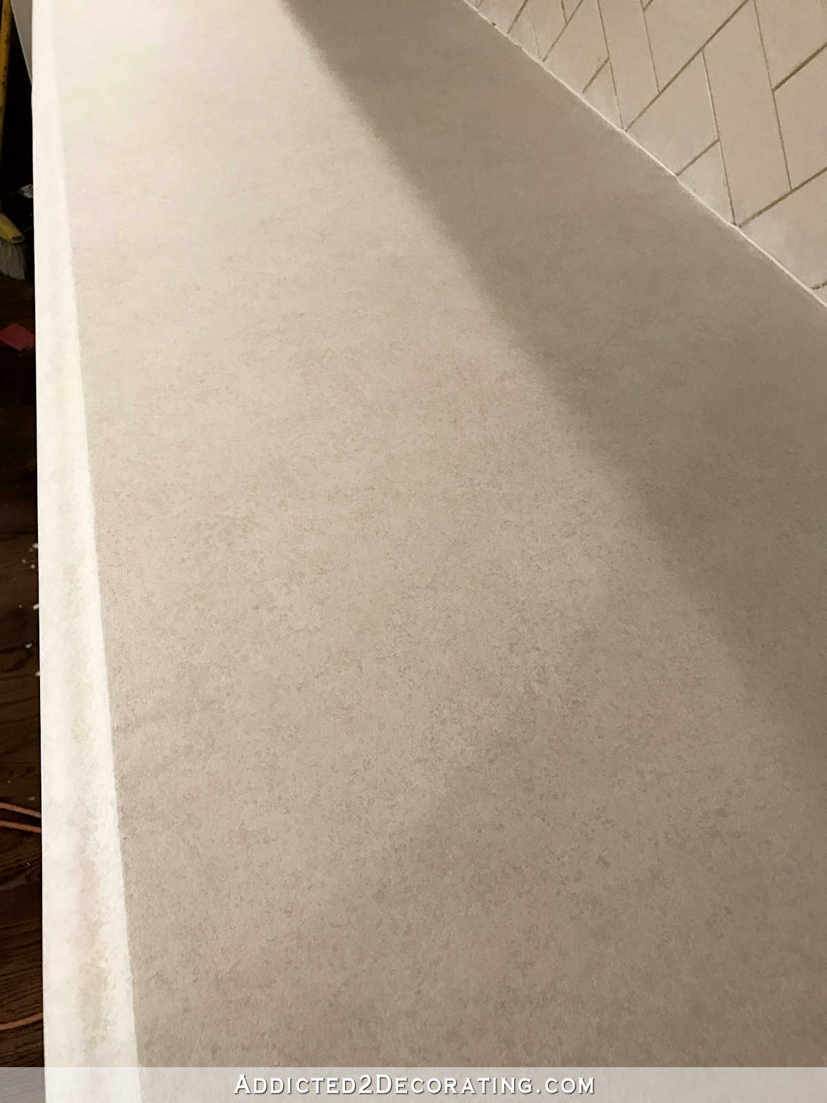 refinishing concrete countertops - 29 - long countertop with all five coats of sponged paint - closeup