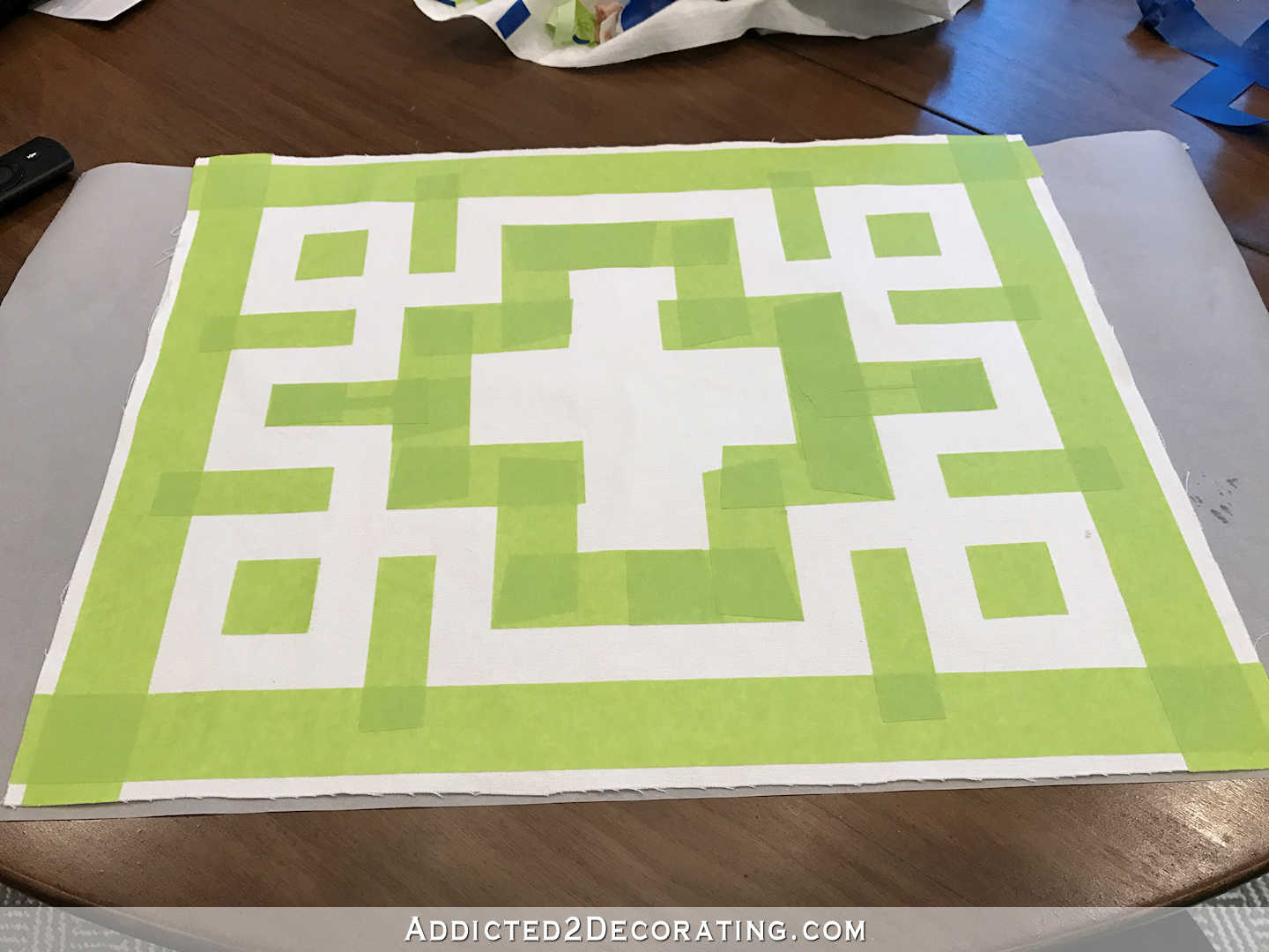 easy DIY Greek key throw pillow using painters stape and paint - 6