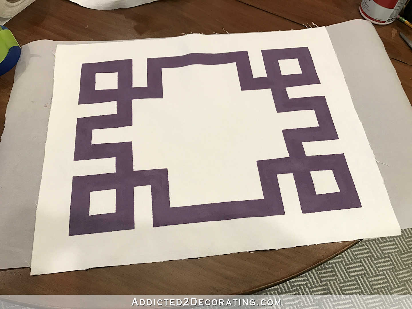easy DIY Greek key throw pillow using painters stape and paint - 8
