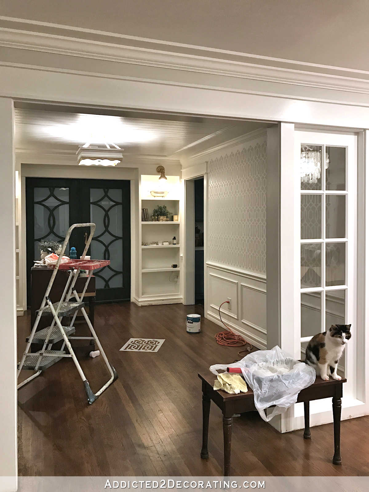 stenciled trellis design in Behr Polar Bear and Benjamin Moore Classic Gray on music room walls - 1