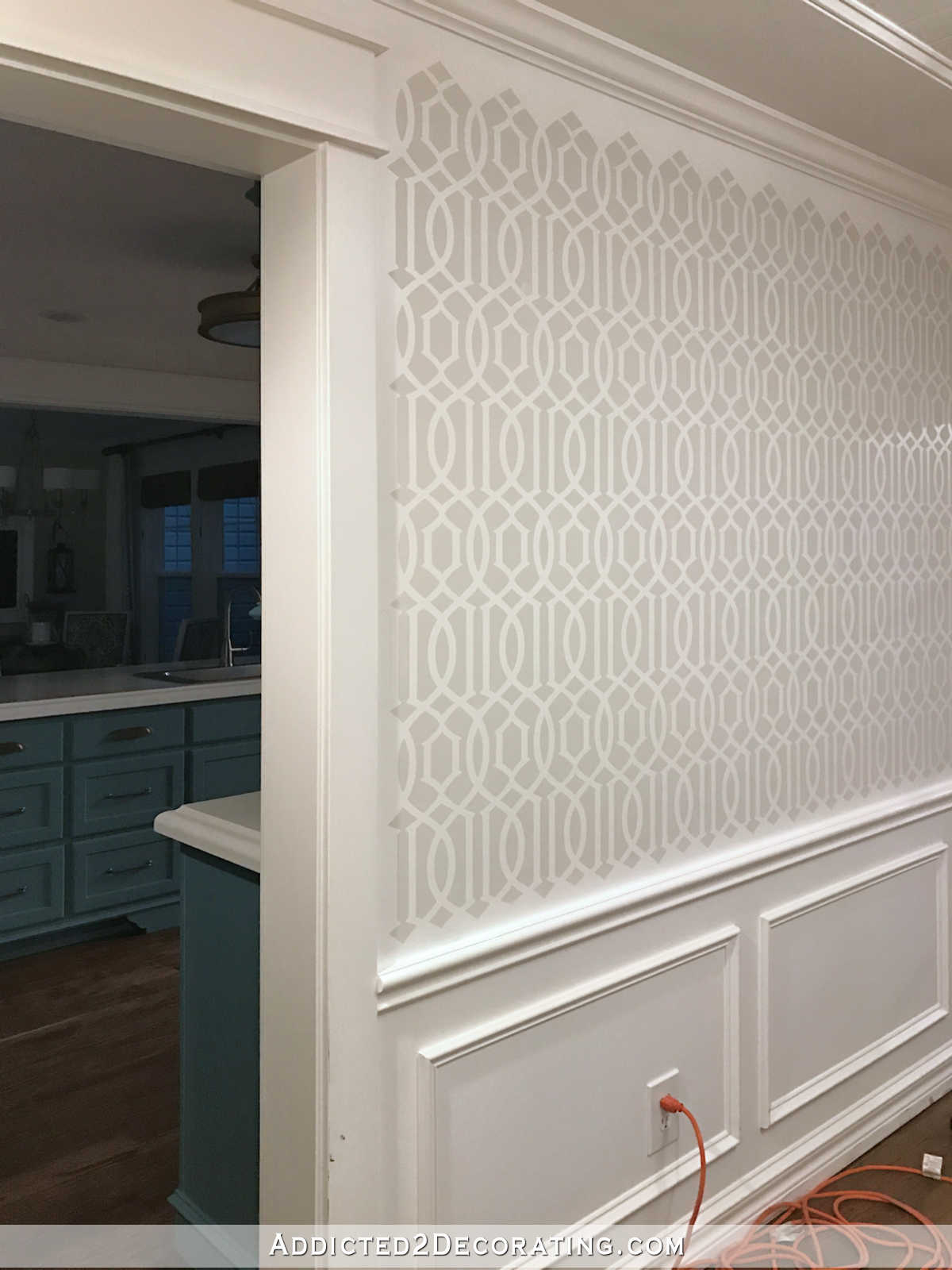 stenciled trellis design in Behr Polar Bear and Benjamin Moore Classic Gray on music room walls - 10