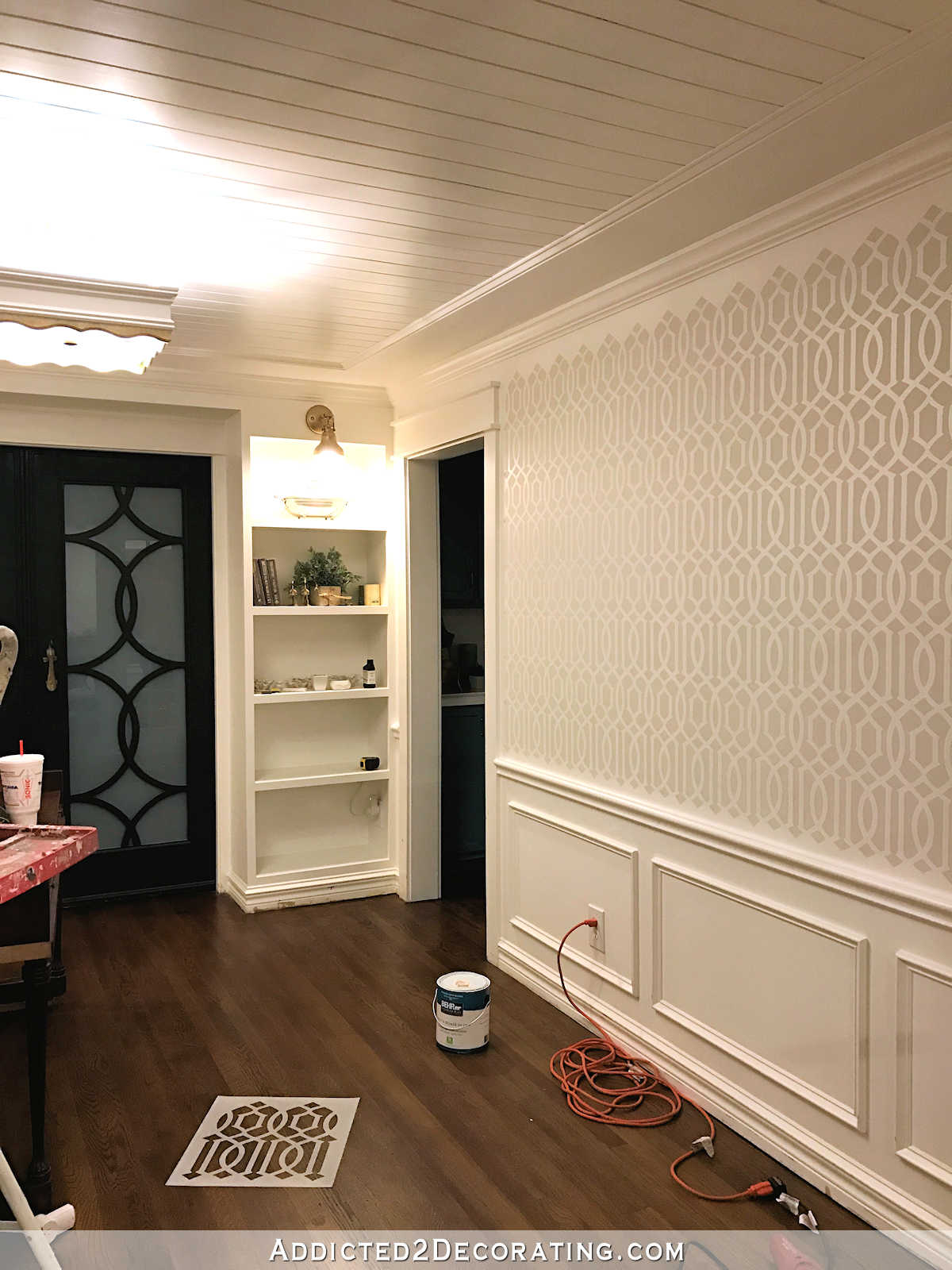 stenciled trellis design in Behr Polar Bear and Benjamin Moore Classic Gray on music room walls - 2