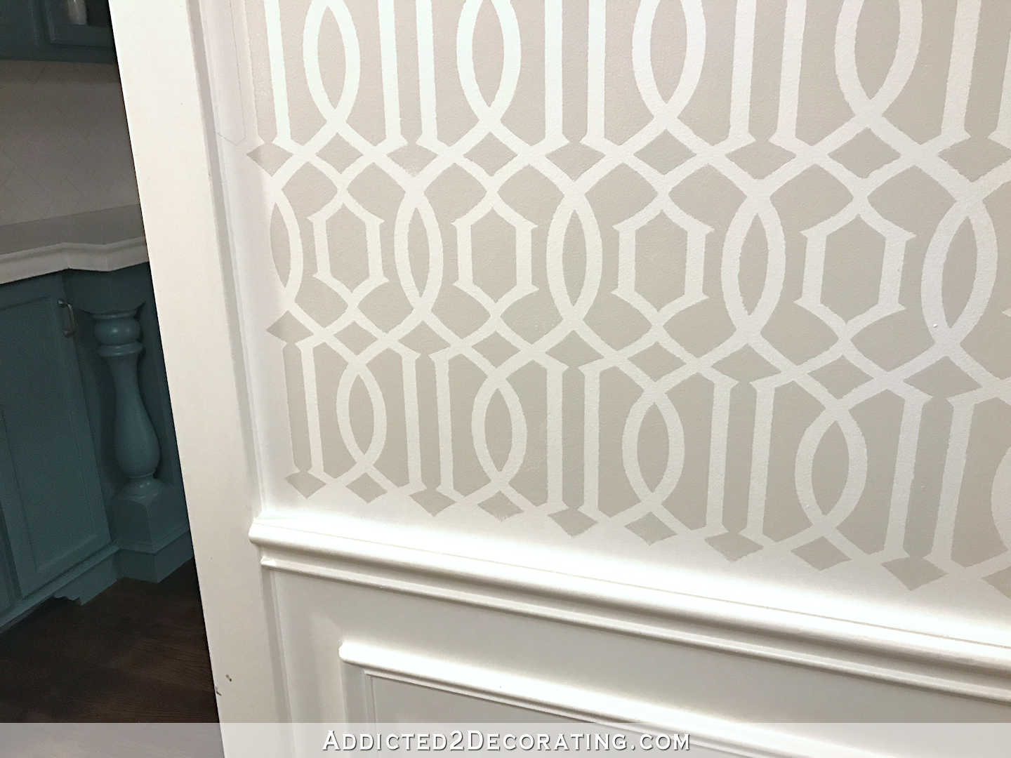stenciled trellis design in Behr Polar Bear and Benjamin Moore Classic Gray on music room walls - 5