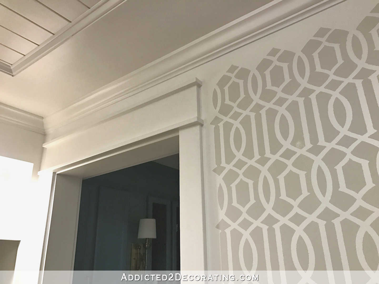 stenciled trellis design in Behr Polar Bear and Benjamin Moore Classic Gray on music room walls - 6
