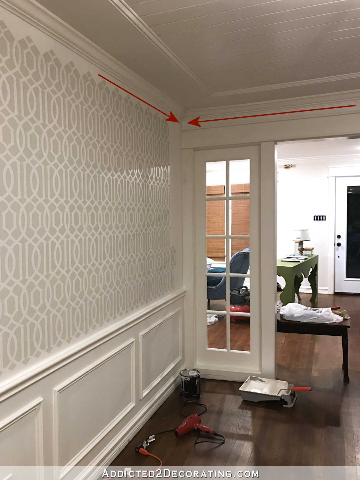 stenciled trellis design in Behr Polar Bear and Benjamin Moore Classic Gray on music room walls - 7