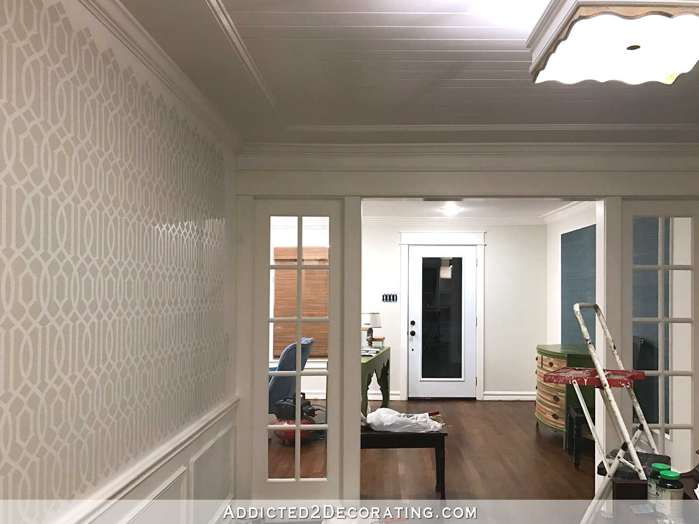 stenciled trellis design in Behr Polar Bear and Benjamin Moore Classic Gray on music room walls - 8