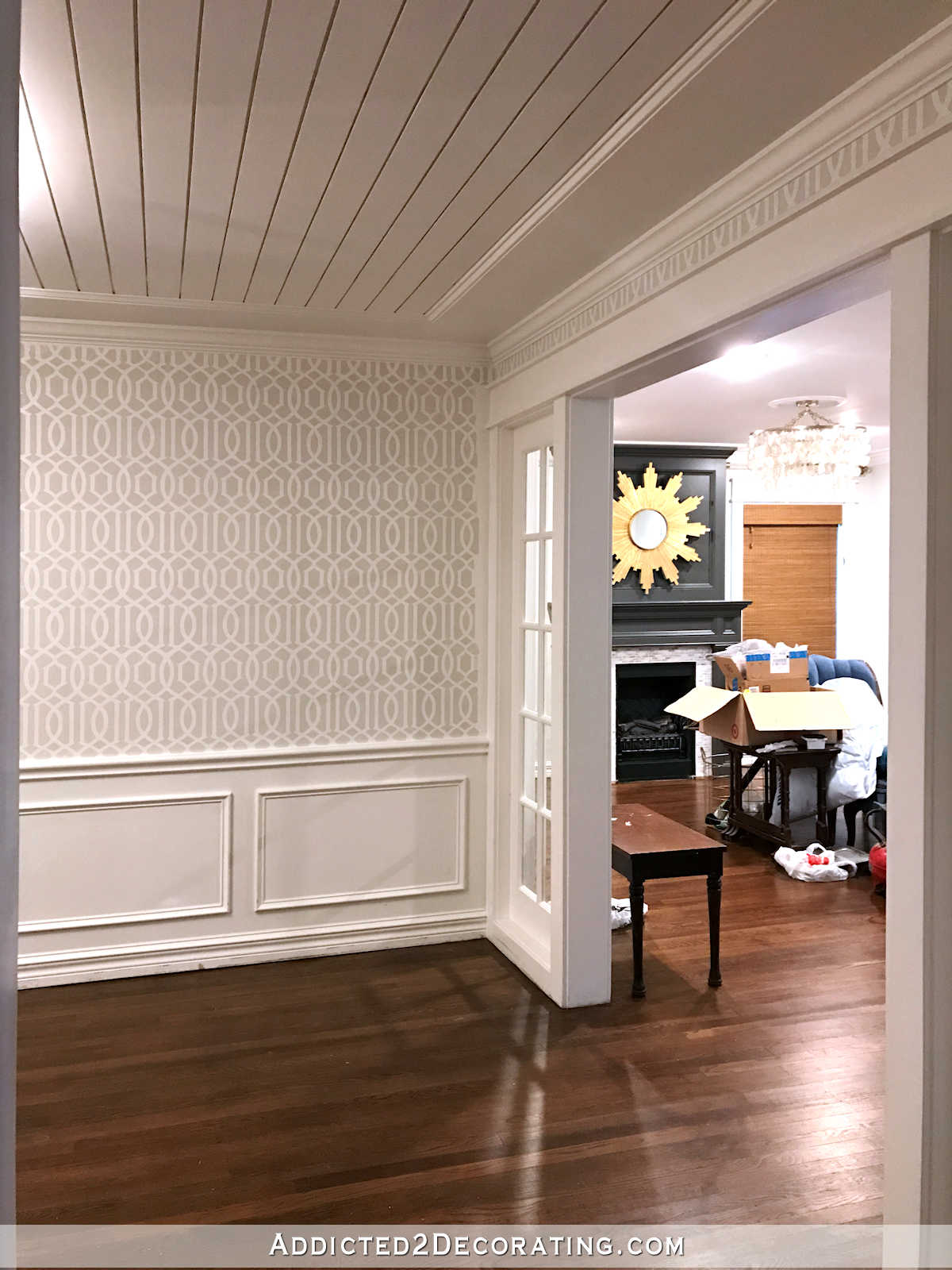 stenciled trellis design on walls in music room - 10