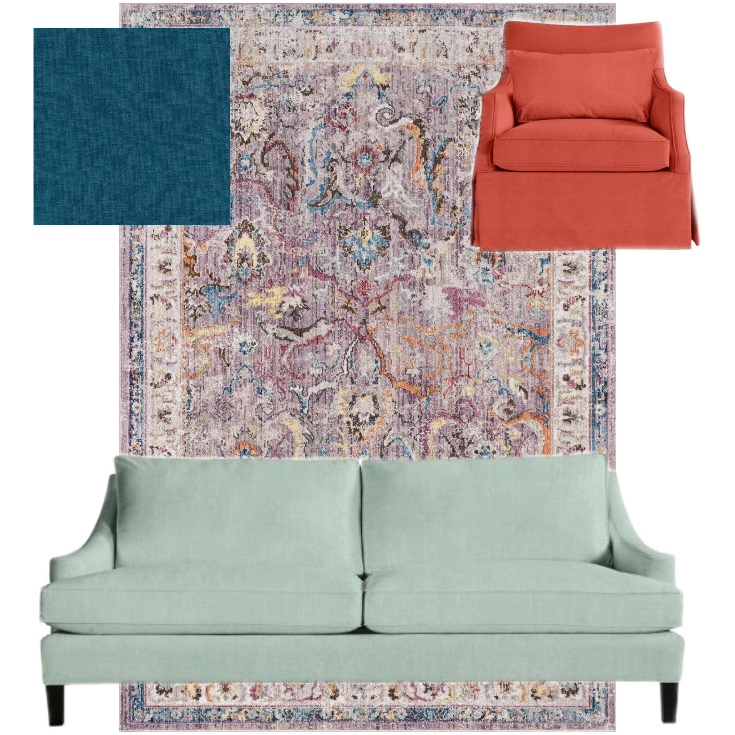 new rug and other options for living room - with green sofa