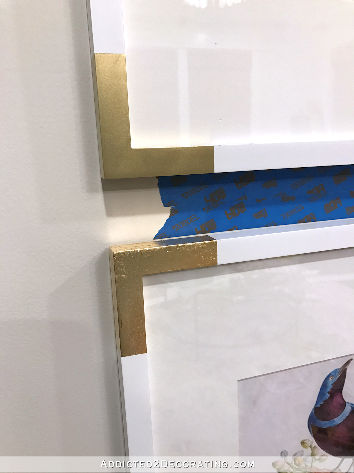 white frames with gold corners - gold spay paint compared to gold leaf