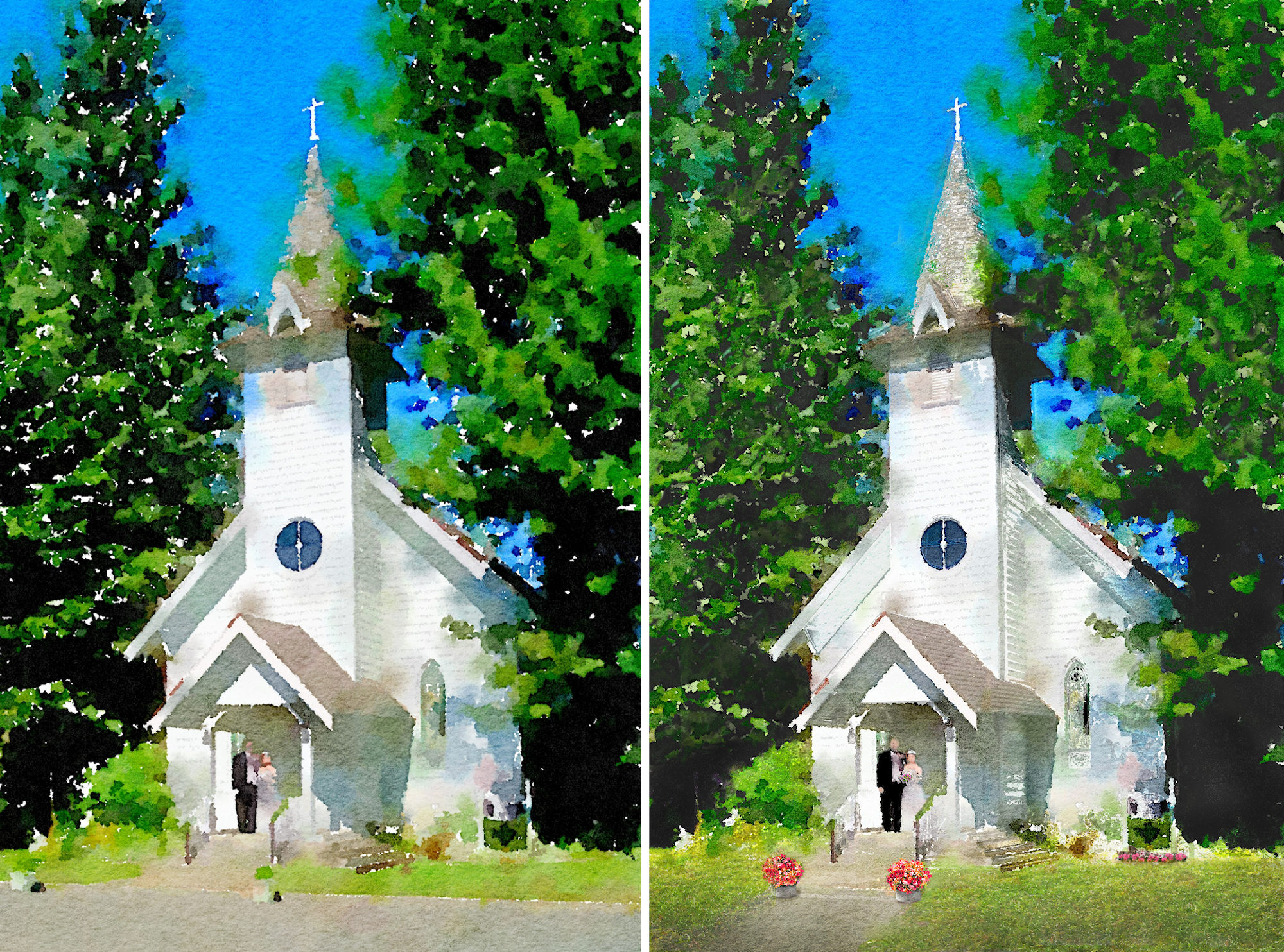 Canby chapel watercolor artwork - Waterlogue app only on left and customized changes on right