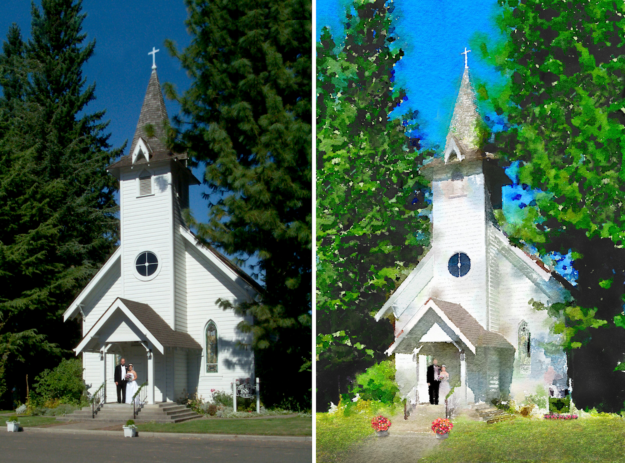 Canby chapel watercolor artwork - before and after