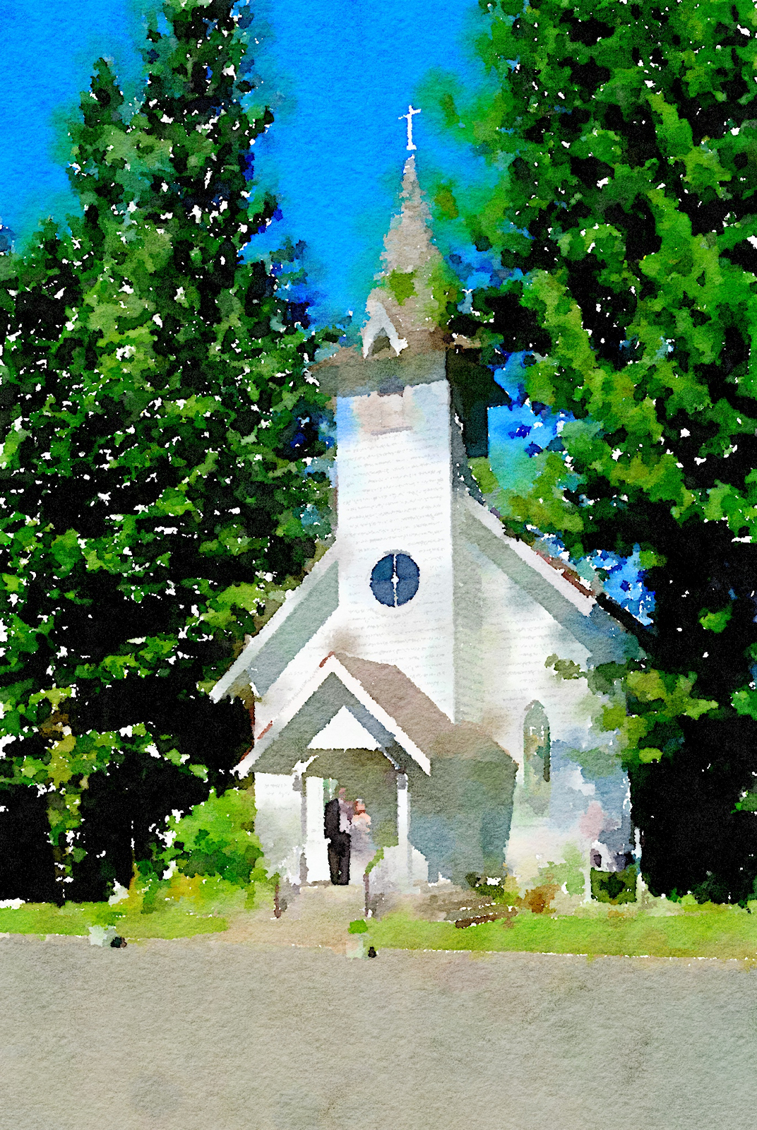 wedding day chapel picture turned into a watercolor using Waterlogue app