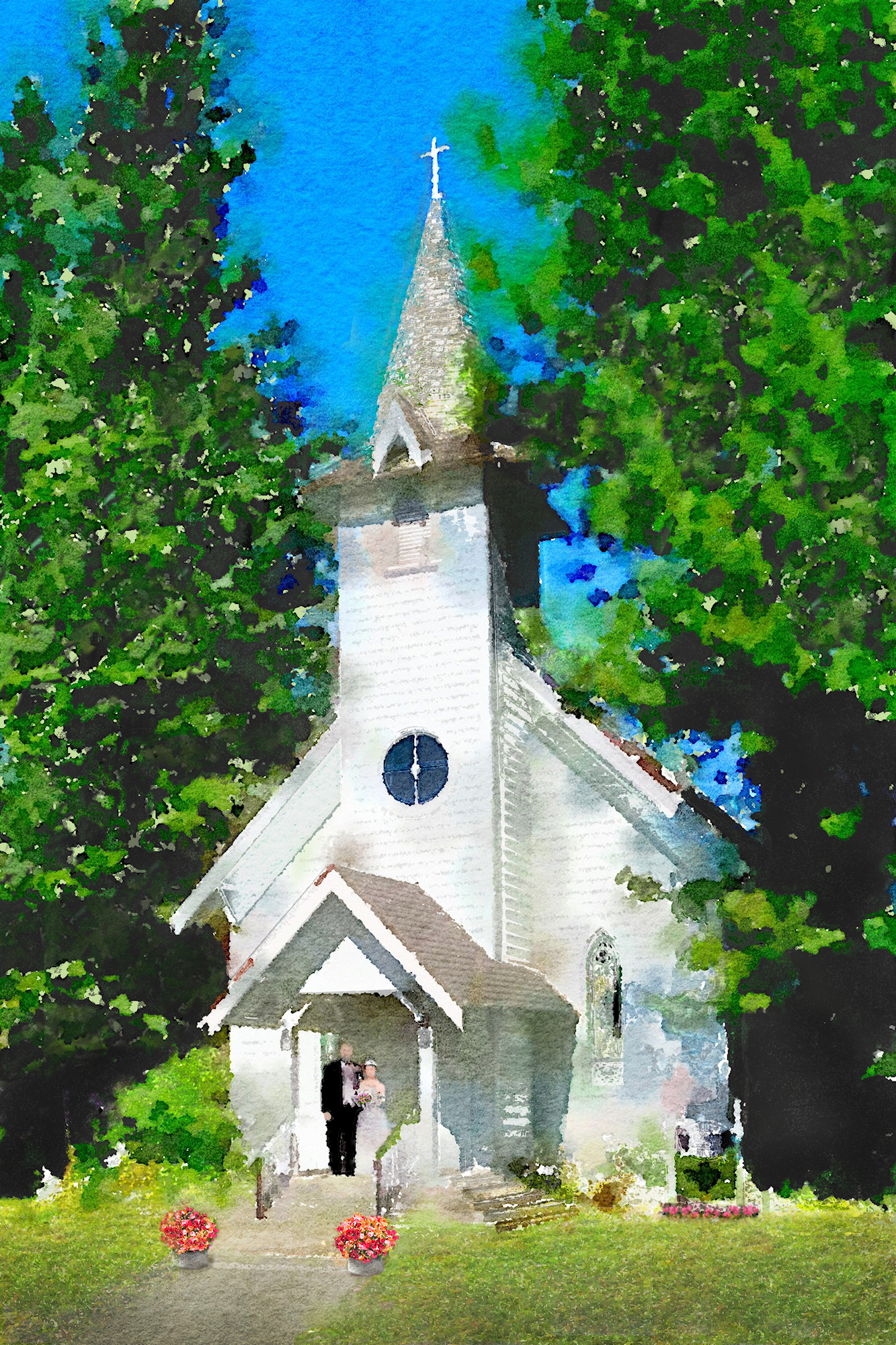 chapel watercolor completed