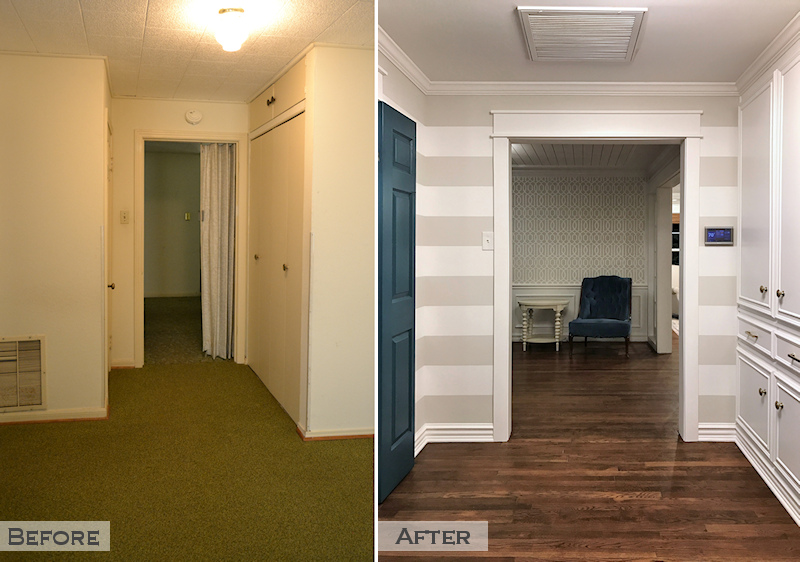 hallway remodel - before and after - widened doorway, closets removed, striped walls, teal doors