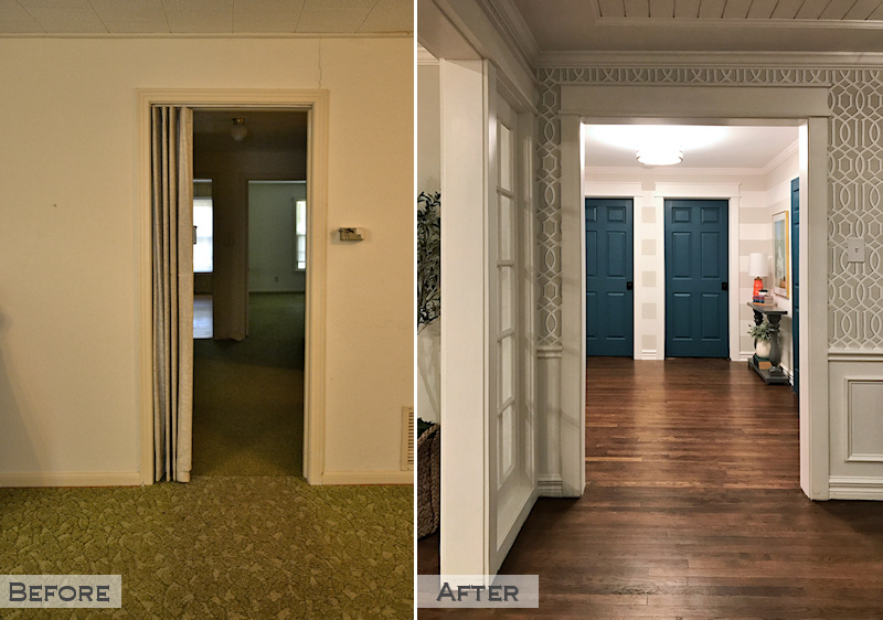hallway remodel - before and after - hallway doorway widened, striped walls, teal doors